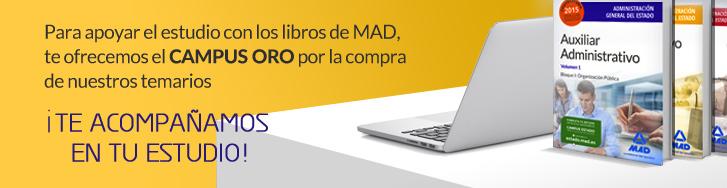Para apoyar el estudio con los libros de MAD, te ofrecemos el Campus Oro por la compra de nuestros temarios